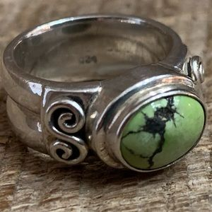Jewelry - 925 Sterling Silver Green Turquoise Ring